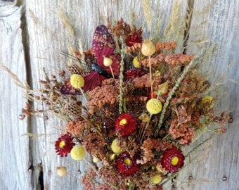 Dried Flower Bouquet Floral Arrangement Red Strawflowers Meadow Grass Pods Natural Sandlewood Dyed Yarrow Butterfly Free Lavender Sachet