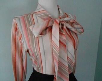 Flirty 1950s 1960s  Red & Black Gray Atomic Striped Button Down Long Sleeve Blouse w Ascot Tie Neck