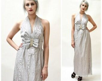 70s Vintage Silver Metallic Dress Evening Gown By Mike Benet Size small medium// Vintage Silver Metallic Gown Wedding Dress Halter Neck