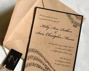 Music Wedding Invitation, Music Notes, Rustic Wedding Invitation, Vintage Wedding, DEPOSIT