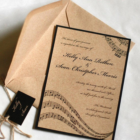 Music Wedding Invitation Music Notes Rustic Wedding
