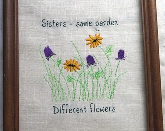 UNFRAMED Sister embroidery