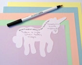 Custom for Kim, Unicorn Shaped Advice Card, Baby Shower Card, Pastel Colors, 75 pieces,  Whimsical Die Cut