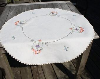 Tea Time Vintage Round Table Cloth