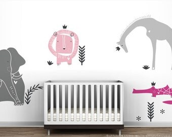 Baby Girl Royal Safari Wall Decal Mural by LittleLion Studio. Modern baby girl pink and grey nusery decor wall sticker