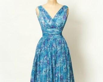 Vintage 50s Dress / 1950s / vlv / Vintage  Dress / pinup / Rockabilly / 50s dress sleeveless  chiffon 1950s dress / party dress  / size xs