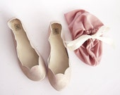 Rose Gold Soft Leather Scalloped Handmade Ballet Flats