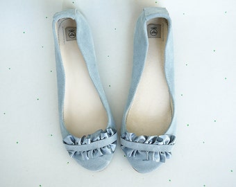 Ballet Flats Shoes Handmade Serenity Dusty Cold Gray Grey with Ruffles in Satin