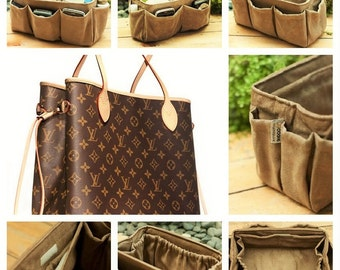 Purse organizer extra sturdy Faux Suede  light brown large 25x10cm