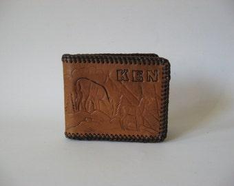 Tooled vintage billfold wallet wrapped edges thick deer stag  motif KEN