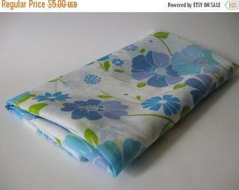 40% SALE Semi sheer curtain fabric with 60s 70s vintage mod floral blues green on white 2 yards available