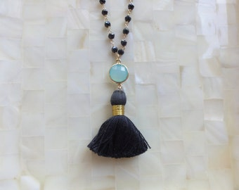 Blue Chalcedony Vermeil Bezel Connector and Black Tassel on Black Spinel Rondelle Vermeil Wire Wrapped Chain Necklace (N1723)
