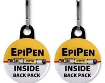 EPIPEN INSIDE Back Pack Medical Alert 2-Pack Zipper Pull Charms (Choose Size and Backing Color)