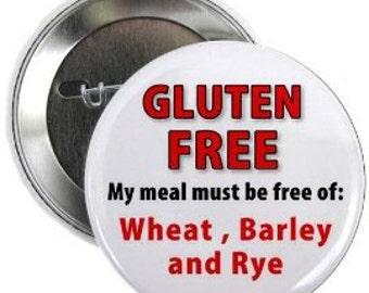 ALLERGIC to GLUTEN Food Allergy Alert Pinback Button Badge (Choose Size)