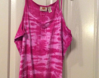Tie dye cotton Plus size 2X tunic tank top shirt sleeveless fuchsia/pinks