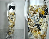 60s 50s 70s floral novelty landscape print pencil maxi skirt