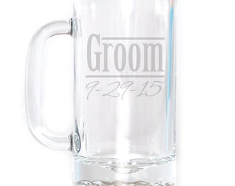 Personalized Small Beer Mug - 16 oz. - 8472 Groom Personalized
