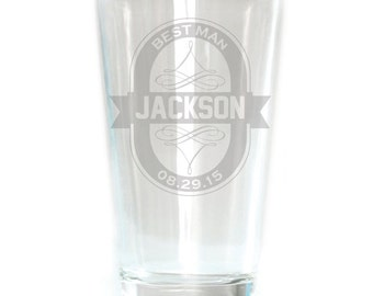 Personalized Pub Glass - 16oz - 8634 Oval Badge Personalized