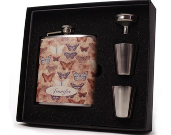 Personalized Vintage Butterfly Flask for Women