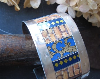 Bricks and Blues Recycled Tin Cuff- Industrial Chic-10th Anniversary