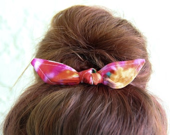 Hair Bow Knotted Bun Clip Tie Dyed 70s Hair Bow Girl Teen Women Hair Accessory French Barrette Alligator Clip Hair Ties