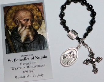 PIF St. Benedict Catholic Single Decade Chaplet in Blue Tiger Eye