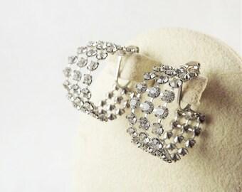 Diamond Hoop Earrings, Vintage Triple Band Rhinestone Earrings, Pierced Diamond Earrings, Sparkle Earrings, Evening Earrings