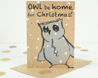 Christmas Card with cute owl illustration - Christmas owl Card