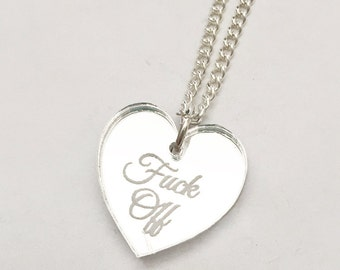 F-ck Off Necklace - Silver Heart