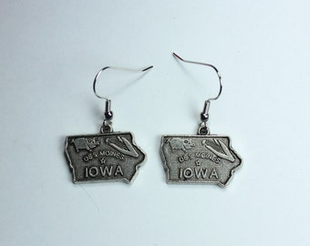 "Earrings - Handmade - Charming Style - State Charms - Iowa ""Des Moines Calling My Name"""