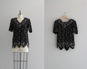 Sequined T Shirt . Scalloped Hem Sequin Top . Black Sequin Blouse