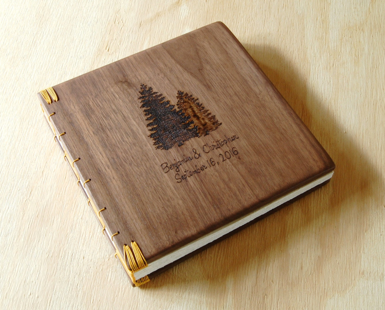 Wood Book Cover Material : Custom wood wedding or cabin guest book black walnut rustic