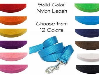 Nylon Dog Leash / Nylon Leash / Dog Leash / Solid Color Nylon Leash / Nylon Webbing Leash