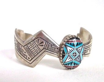 Sterling Silver Carolyn Pollack Relios Southwest Bracelet RMT Roderick Tenorio Cuff Bracelet Turquoise Inlay