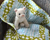 Quilted Babies Blanket, Little Red Headed Woodpecker, White Birch Trees