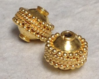 2 Round Vermeil Gold Beads - 8.7mm -  Wide Center Dotted and Twisted Band -  MB358
