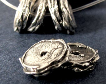 2 Organic Artisan Rondelle Sterling Silver Spacer Beads - Rustic Disc - Textured Edge, 10.25mm, AC14