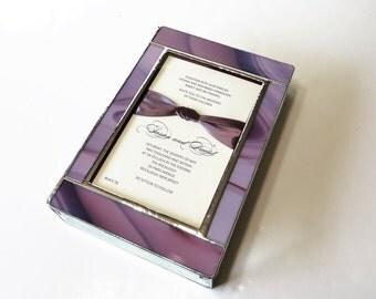 Stained Glass Wedding Invitation Keepsake Box 7x10x2 Bride Groom Photograph 50th Golden Anniversary Bat Mitzvah Custom Made-to-Order