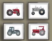 Tractor nursery art, tractor bedding art, boys nursery art prints, tractor decor, red gray nursery art