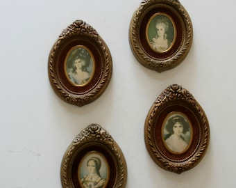 Vintage Victorian Woman Print Wall Plaques,  Plaster, Cameo, Oval,, Velvet
