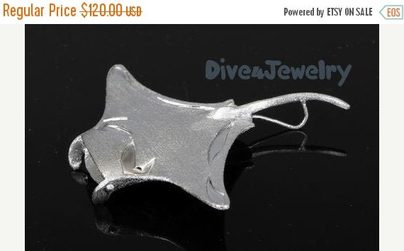 SALE Manta Ray Sterling Silver Pendant Necklace