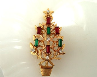 Crystal Rhinestone Christmas Tree Brooch