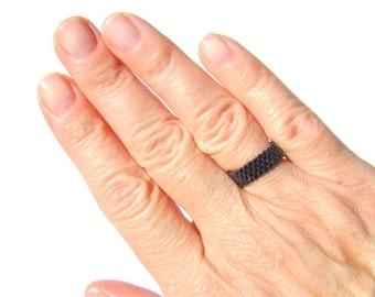 Skinny Gunmetal Black Bead Ring, Narrow Minimalist Seed Bead Pinky Ring, Narrow Band Peyote Ring For Men or Women