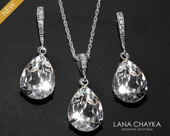 crystal bridal jewelry set clear crystal earrings necklace set