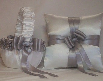 White Satin With Silver  Ribbon Trim Flower Girl Basket And Ring Bearer Pillow Set 5