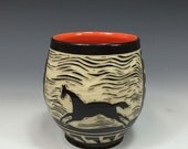 Sgraffito cup, Tea Bowl, Wine Cup, Offering Bowl with Horse, in Clementine Orange