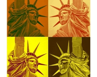 NEW YORK According to Andy Warhol, Statue of Liberty, Original illustration Artist Print Wall Art, Free Shipping in USA.