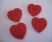 Vintage Lot of 4 Red Heart Button Set, 1940's-50's