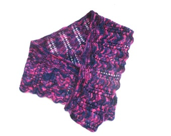 "Hand dyed shawlette / scarf , hand knitted original ""The Feminine Touch"" design , stunning original gift for her"