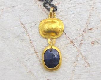 24K Gold & Lapis Lazuli Pendant - Fine gold Pendant - Blue Lapis Lazuli Necklace